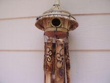 Tiki Bird House Fireburnt Swirl with Flowers Bamboo Wind Chimes Free Ship