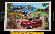 Hawaiian Tiki Beach Art VW Beetle Volkswagen Surf Wagon Squareback Poster Print