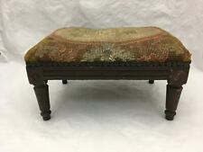 Antique Victorian Footstool w Needlepoint Seat
