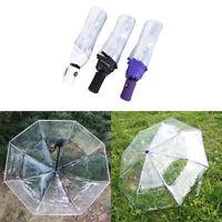 Automatic Open Close Fold Windproof Umbrella Compact Rain Transparent C RA