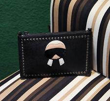 Black Little Man Saffiano Leather Stud Clutch Cross Body Bag Envelope Bag