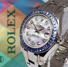 Rolex Pearlmaster 18K White Gold MOP Diamond Sapphire Watch  Box/Papers 80309
