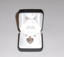 Danecraft 24K Gold Over Sterling Silver Cubic Zirconia Heart Pendant & Chain Set
