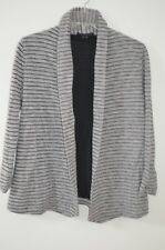 THEORY Gray & Black Striped Open Front 3/4 Sleeve Cardigan Sweater - Size Petite