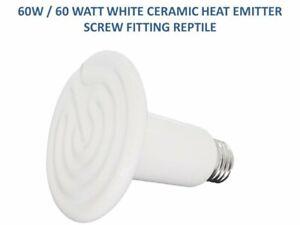 60W / 60 WATT WHITE CERAMIC HEAT LAMP / BULB ES EMITTER SCREW FITTING REPTILE IR