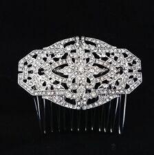 Wedding Bridal Rhinestones Crystal Diamante Headpiece Vintage Silver Hair Comb