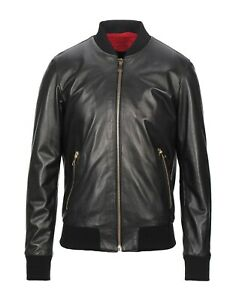 Men Genuine Lambskin Classic Bomber Black Real Leather Varsity Aviator Jacket