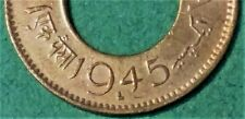 COLLECT BRITISH INDIAN 1 PISA LAHORE MINT COIN.KING GEORGE VI 1945 HOLE COIN