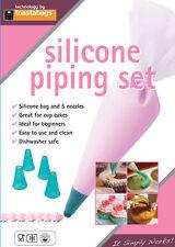 Bolsa de tuberías de silicona + 5 Boquillas Taza Pasteles Glaseado Mash Fácil de Usar + limpio SPS