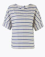 Per Una By M&S Cotton Blend Stripe Short Sleeve Top Sz 24 Short Sleeve NEW Lady