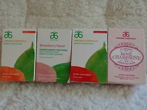 4Box Arbonne Essentials Energy Fizz Sticks Pomegranate,Citrus,Strawberry&Rose