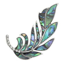 Blue Green Abalone / Paua Shell & Crystal Leaf Brooch