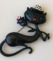 Adorable  large black Cat with rose Brooch in enamel on Metal