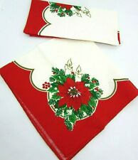 (2) Vintage Christmas Napkins Poinsettia's and Candles