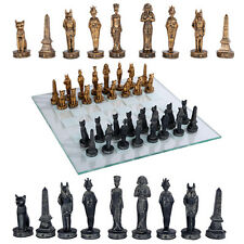Egyptian Chess Set w/ Glass Board Chessboard.Ancient Egypt Home Decor Gift 11071