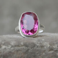 Oval Faceted Pink Tourmaline Gemstone 925 Sterling Silver Artisan Ring Jewelry
