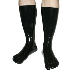 Rubberfashion sehr lange Latex Zehen Socken,extra dicke Latexzehensocken Wade