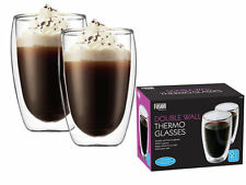 Fusion Double Wall Thermo Tall Glass Latte Tea Coffee Drink Cappuccino Cups
