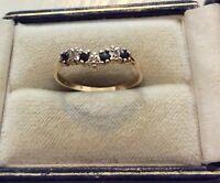 Lovely Ladies Full Hallmarked Vintage 9CT Gold Sapphire & Diamond Ring - M 1/2