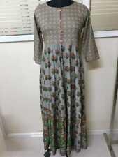 Anarkali Floral Grey Printed Long Ethnic Elegant Women's Rayon Kurti Kurta 8020