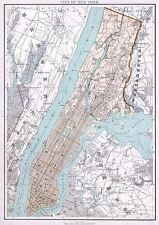 MAP ANTIQUE 1895 BIEN NEW YORK CITY PLAN LARGE REPRODUCTION POSTER PRINT PAM1990