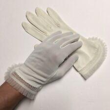 Vintage 50s White Gloves Wrist Ruffle Trim Women's Size 7 1/2 7.5 1950s vtg