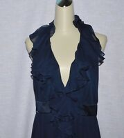 MARCHESA NOTTE SZ 12 L BLUE 100% SILK HALTER FRONT RUFFLE LONG FORMAL GOWN DRESS