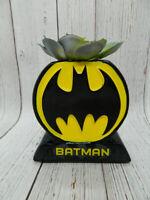 DC Comics Batman Symbol Faux Succulent Black Planter NEW