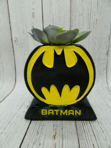 DC Comics Batman Symbol Faux Succulent Black Planter NEW