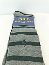 Polo Ralph Lauren Gray and Black Stripe 3-Pack Dress Socks Size 6-12.5