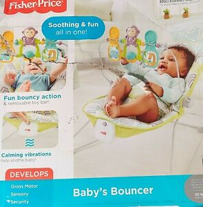 Fisher-Price 2-in-1 Sensory Stages Baby Bouncer & Seat Songs, Calming Vibrations