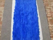 Luxury Rex Rabbit Fur Throw 100% Real Fur Blue Soft Bedspread Blanket 22''X42''