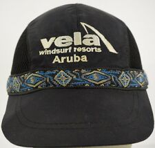 Vela Windsurf Resorts Aruba Black Baseball Hat Cap and Cloth Strap
