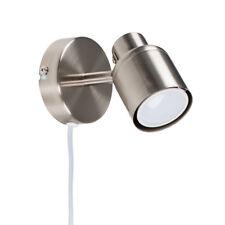 Brushed Chrome Single Plug In Ceiling Wall Light Spot Light Fitting Lighting