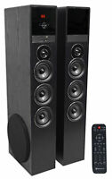 "Rockville TM150B Black Home Theatre System Tower Speakers 10"" Sub/Blueooth/USB"