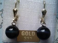 Ohrhänger Gold 333 mit Falkenauge blau 8 mm, Kugelohrhänger Gold 333  Falkenauge
