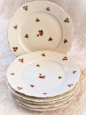 Bavaria Western Germany Porcelain Salad Plates Floral Design Rose Motif c. 1950s