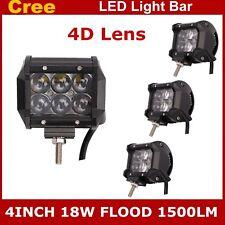 4PCS 4inch 18W CREE Flood Pod Lights LED Work Light Offroad ATV SUV Jeep 4D Lens