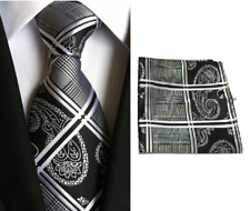 Men's Black White Paisley Floral Tie & Hanky Handkerchief Pocket Square Set