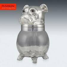 More details for novelty 20thc silver plated & glass bulldogs head shaped jar c.1960
