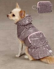 XS Dog Raincoat Pink Check Travel Pouch - Chihuahua Coat Jacket Puppy Pet Tiny