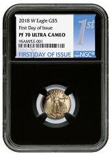 2018-W 1/10 oz Gold American Eagle Proof $5 NGC PF70 UC FDI Black Core SKU52620
