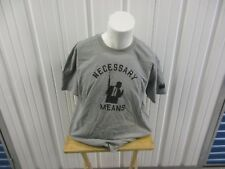 """VINTAGE NATURAL BORN CROOKLYN """"NECESSARY MEANS"""" GREY XL GRAPHIC LOGO T-SHIRT"""