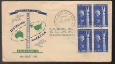 1955 Australia American Friendship Usa Memorial Block of 4 Fdc