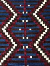 NAVAJO Contemporary Rug Textile Geometric Design Blue, Brown, Dark Red, White