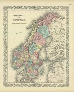"1860 Colton's  ""DENMARK"" and ""SWEDEN  & NORWAY-2 Maps"