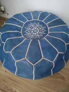 Blue Genuine Leather Pouffe Moroccan Handmade