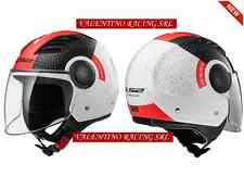 CASCO JET LS2 OF562 AIRFLOW CONDOR WHITE BLACK RED CON VISIERA LUNGA MIS. M 58