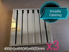 3xLOBO Heavy Duty Stainless Steel Canopy Extraction Grease Baffle Filter 495x495