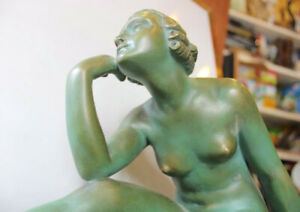 Lucien Alliot Antique French Naked Lady Sculpture Terra cotta Signed & Numbered